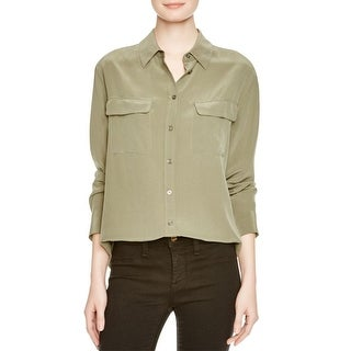 Equipment Femme Womens Slim Signature Button-Down Top Silk Long Sleeves