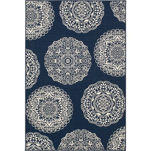 Gainsville Fantasia Navy Blue and Ivory Woven Area Rug