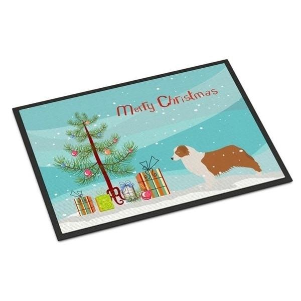 Carolines Treasures BB2951MAT Australian Shepherd Dog Merry Christmas Tree Indoor or Outdoor Mat 18x27