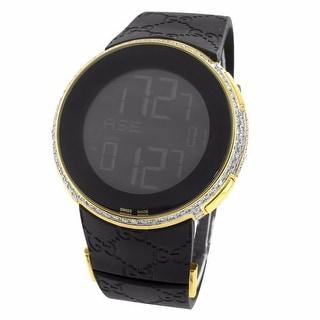 Diamond Gucci Watch YA11429 Yellow Gold Tone Stainless Steel 5.00 Carat Mens