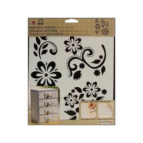 Plaid Folkart Painting Stencil 9.5x8.5 Debs Floral