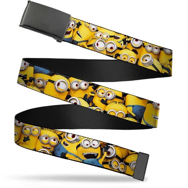 Blank Black Bo Buckle Despicable Me Minions Stacked Close Up Webbing Web Belt