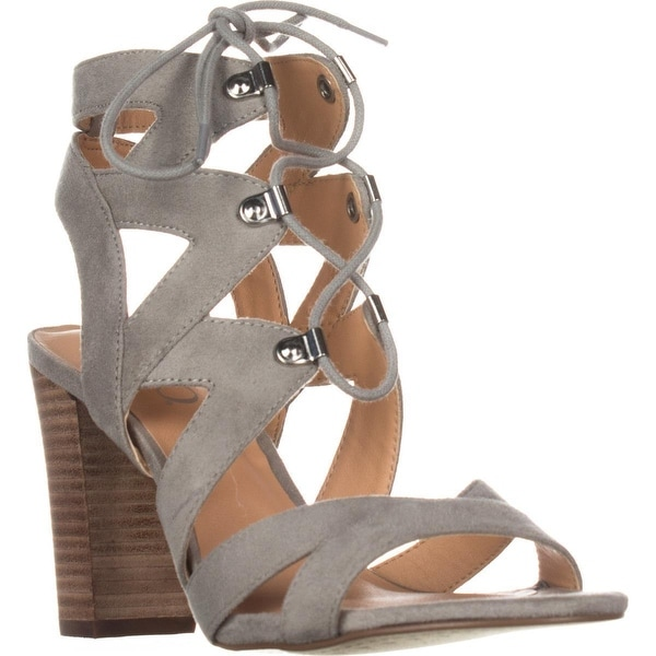 XOXO Barnie Heeled Lace Up Sandals, Grey