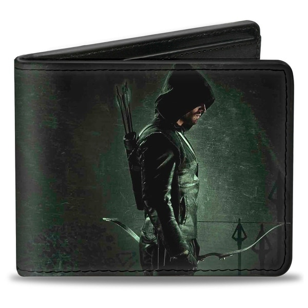 Arrow Standing Profile Pose Arrow Tips Greens Bi Fold Wallet - One Size Fits most