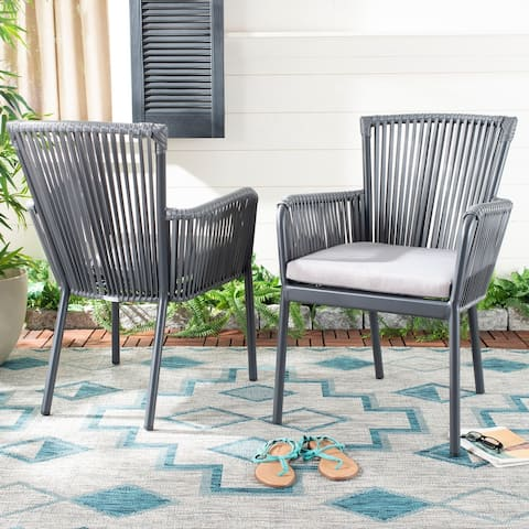 """Safavieh Outdoor Living Paolo Rope Chair - Grey (Set of 2) - 23.6""""x26""""x34"""""""