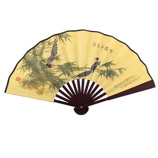 Wooden Frame Bamboo Pattern Chinese Style Dancing Folding Handheld Fan Yellow