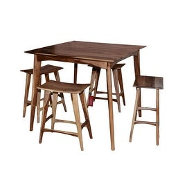 Wooden Bar Table Set with 4 Stools