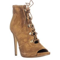 GUESS Alysa Lace Up Ankle Boots, Medium Brown