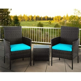 Link to Suncrown Outdoor 3-piece Wicker Bistro Furniture Set Similar Items in Patio Furniture