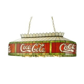 Meyda Tiffany 29287 Eighteen Light Down Lighting Oblong Island / Billiard Fixture from the Coca-Cola Collection