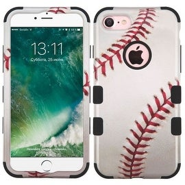 Insten White/ Red Baseball Tuff Hard PC/ Silicone Dual Layer Hybrid Rubberized Matte Case Cover For Apple iPhone 7