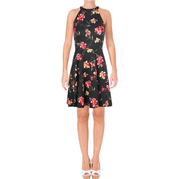 Shop Aqua Womens Skater Dress Floral Print Halter Free