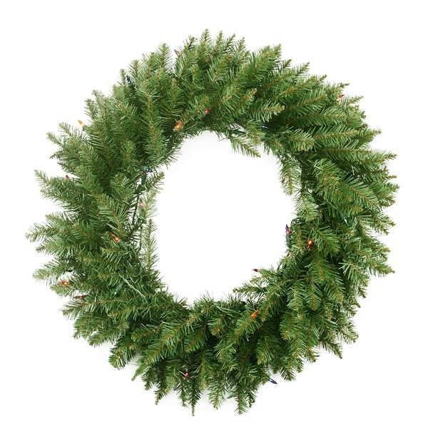"""36"""" Pre-Lit Northern Pine Artificial Christmas Wreath - Multi-Color Lights - green"""