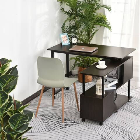 HOMCOM L-Shaped Computer Corner Desk and Rotating Shelf Combo for Home Office