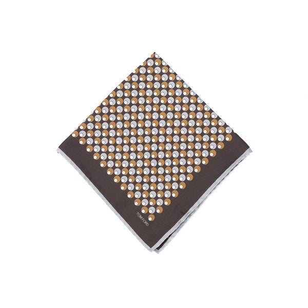 Tom Ford Dark Brown Double Circle Silk Pocket Square