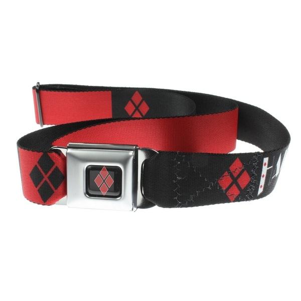 "DC Comics Batman Seatbelt Belt - ""Harley Quinn"" Black & Red Design-Holds Pants Up"