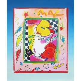 Lady Profile, Original Mixed Media Painting, Peter Max