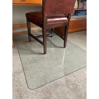 """Lorell Tempered Glass Chairmat - Floor, Pile Carpet, Hardwood Floor, Marble - 36"""" Length x 46"""" Width x 0.25"""" Thickness"""