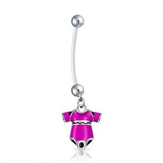 Bling Jewelry Bioflex Pink Enamel Onesie Pregnant Belly Button Ring Steel