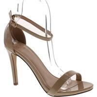Delicious Jaiden Women Patent Leatherette Open Toe Ankle Strap Stiletto Sandal Pump - Dark Beige