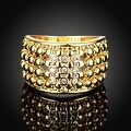 Gold Plated Multi Beaded Lining with Jewels Crystals Ring - Thumbnail 1