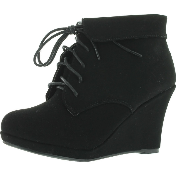 Top Moda Womens Max-35 Max 35 Womens Wedge Ankle Booties - Black
