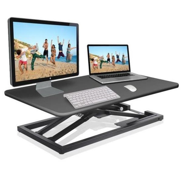 Low Profile Sitting or Standing Laptop Computer & Monitor Desk Stand