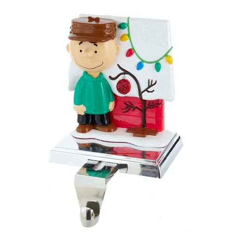 Kurt Adler 5-Inch Peanuts Charlie Brown with Doghouse Stocking Holder - 5""