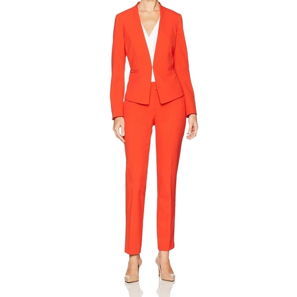 Shop Tahari By Asl Orange Women S Size 4 Kiss Front Pant Suit Set