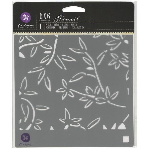 """Prima Designer Stencil 6""""X6""""-Bamboo Leaves"""