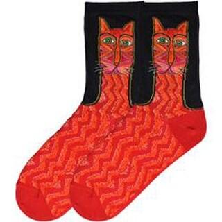 Tribal Zig Zag Cat - Red - Laurel Burch Socks