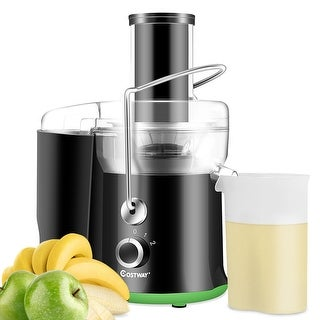 Costway Electric Juicer Wide Mouth Fruit & Vegetable Centrifugal Juice Extractor 2 Speed - Black + Green