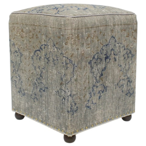 Vintage Distressed Antique Earl Handmade Wool Rug Upholstered Ottoman