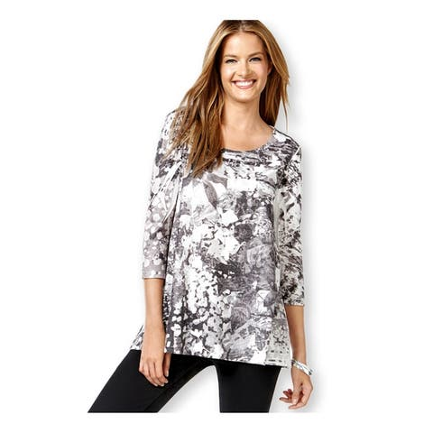 Style&Co. Womens Sublimation 3/4 Slv Graphic T-Shirt