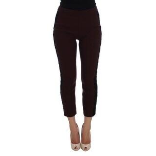 Dolce & Gabbana Dolce & Gabbana Purple Black Torero Stretch Slim Capri Pants - it40-s