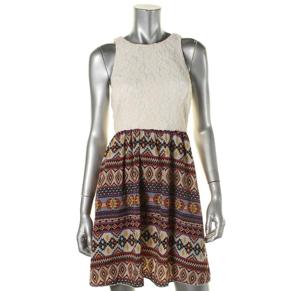 Speechless Womens Juniors Casual Dress Lace Printed