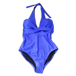 Coastal Blue Blue Womens Size XS One-Piece Halter Open-Back Swimwear