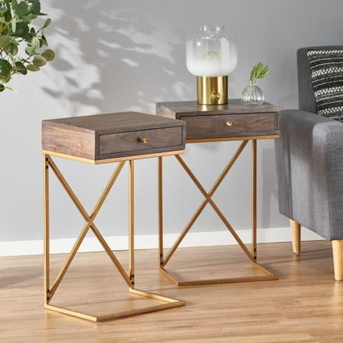 Bucyrus Handcrafted Acacia Wood C-Shaped Side Tables (Set of 2) by Christopher Knight Home