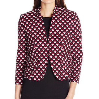 Nine West NEW Pink Ruby Women's Size 12 Clasp-Front Geo-Print Jacket