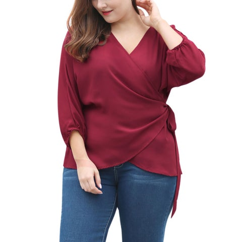 Allegra K Women's Plus size Batwing Sleeves Top