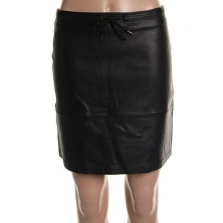 French Connection Womens Leather Drawstring A-Line Skirt