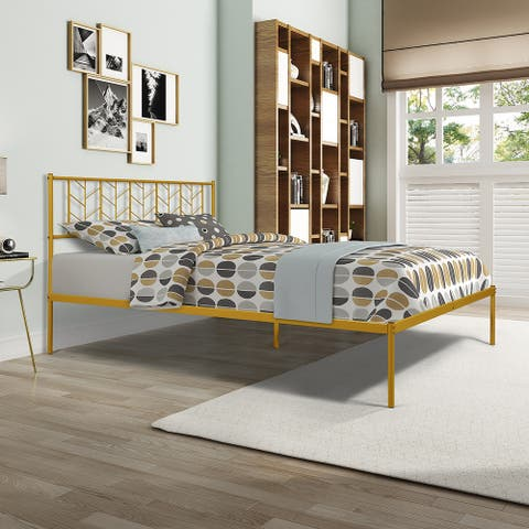TiramisuBest Vintage Look Queen Metal Bed Frame
