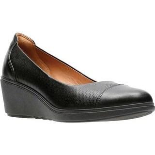 Clarks Women's Un Tallara Dee Wedge Black Full Grain Leather