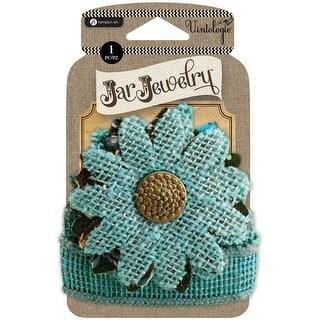 Embellished Burlap Flower W/Tie-Turquoise - turquoise