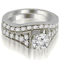 1.50 cttw. 14K White Gold Vintage Cathedral Round Cut Diamond Bridal Set
