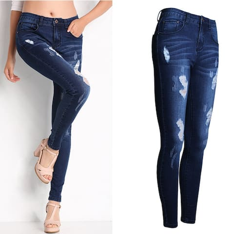 Washed And Polished White Slim Pants Small Leg Pants Jeans - Dark Blue
