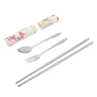 Office Travel Metal Cutlery Fork Spoon Chopsticks Tableware Set Silver Tone