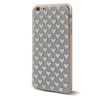 Cell Phone Heart Rear Anti-slip Protector Glitter Case Silver Tone for iphone 6