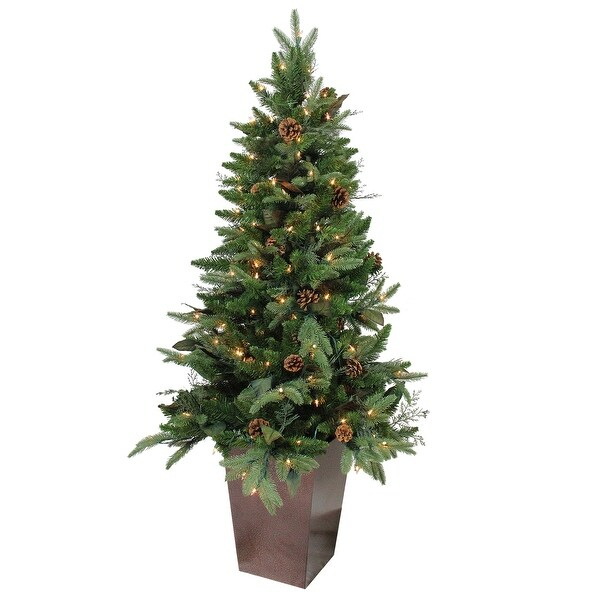 5' Pre-Lit Mixed Winter Pine Potted Artificial Christmas Tree - Clear Lights