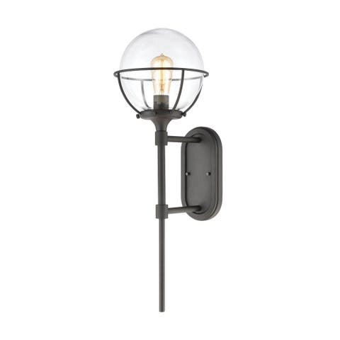 Mid-Century Porch Light with Exposed Bulb - 28 Inch One Light Round Globe Outdoor Wall Lantern